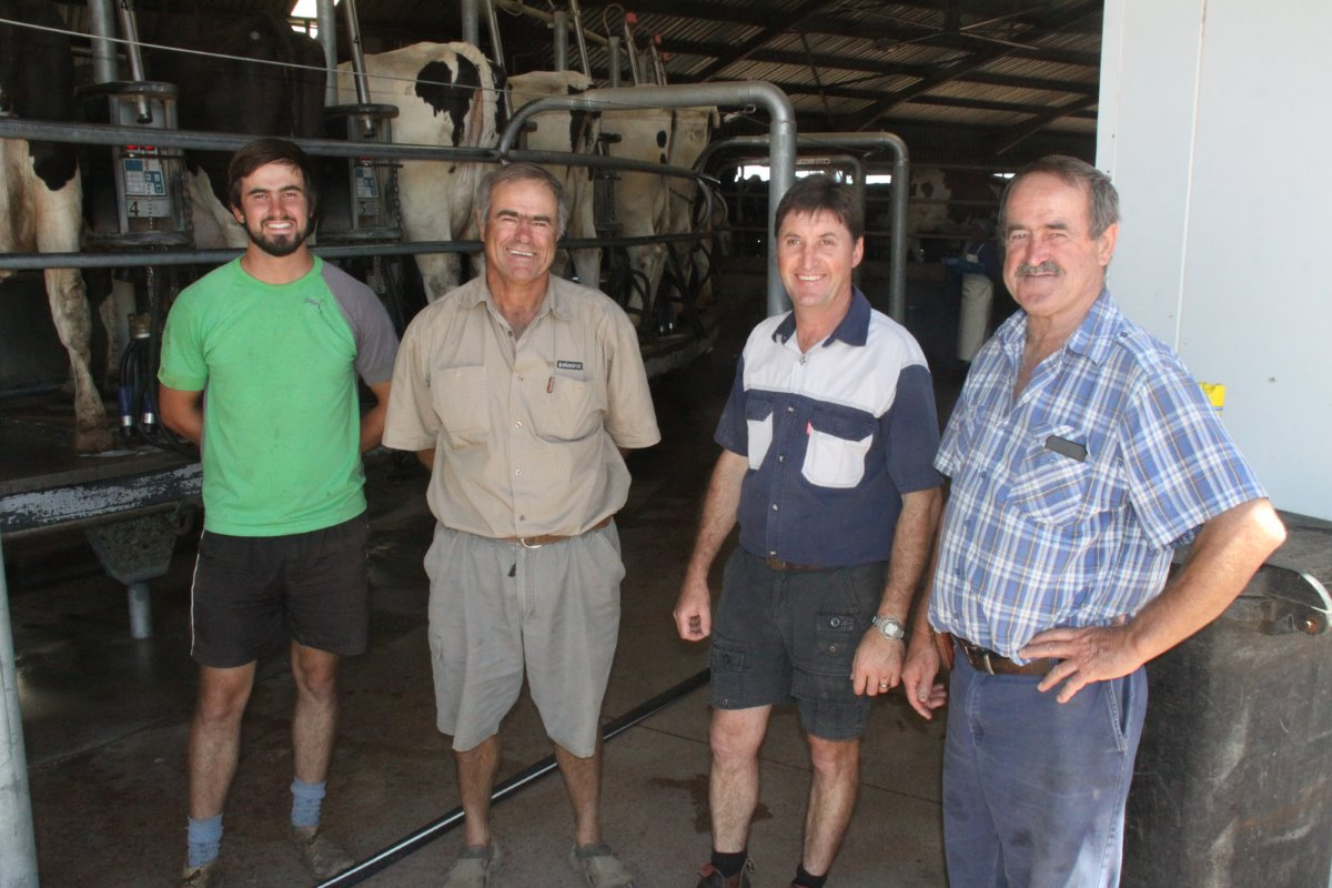The team that runs Uilenkraal are from left to right Willem Basson's son Coenraad (23); Paul Basson (54); milk manager Dries Venter (46); and Willem Basson (60). After completion of his agricultural studies Coenraad recently worked for a year for North Florida Holsteins in the USA.