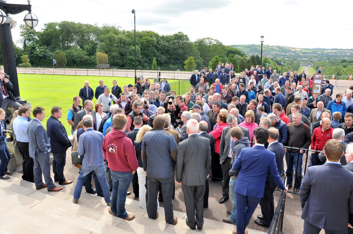 Around 300 dairy farmers attended the protest at Stormont on Thursday.