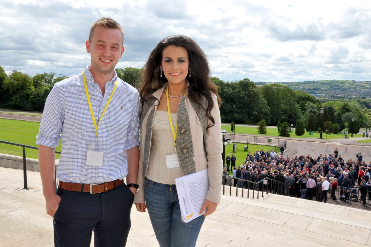 Young dairy farmers James Stewart and Rachelle Liggett from Banbridge attended the protest at Stormont in Belfast.
