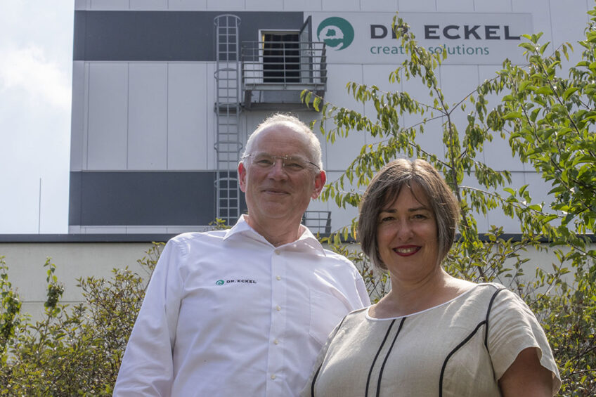 Dr Bernhard and Dr Antje Eckel at the production plant in Niederzissen, Germany.