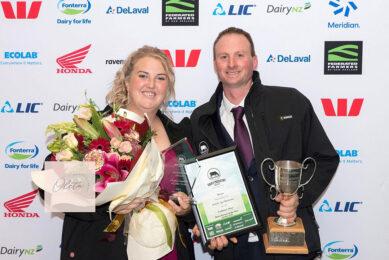Ann and Scott Henderson with their sharemilker award. Photo: Chris McCullough
