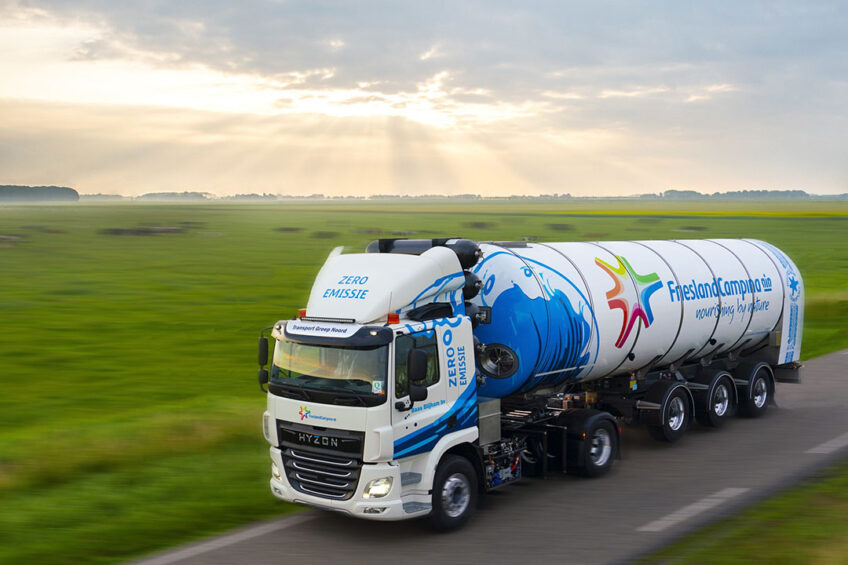 Hyzon Motors has delivered its first 55-ton milk truck to Transport Groep Noord, a carrier providing transport for multinational dairy company Royal FrieslandCampina N.V.