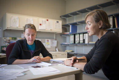 In discussion, Dr Gerlinde Van de Walle (left) and Rebecca Harman (right), research support specialist in the Van de Walle lab at the Baker Institute. - Photo: Rachel Philipson