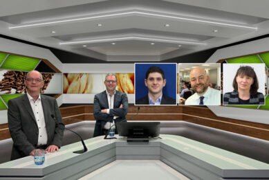 The line-up of the webinar of May 12, with from left to right Johan den Hartog, GMP+ International; Vincent ter Beek, Misset; Michael Magdovitz, Rabobank; Mark McHugh, AB Agri; and Susanne Fromwald, Donau Soja. - Photo: Company Webcast