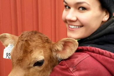Anna  grew up feeding calves on the farm.