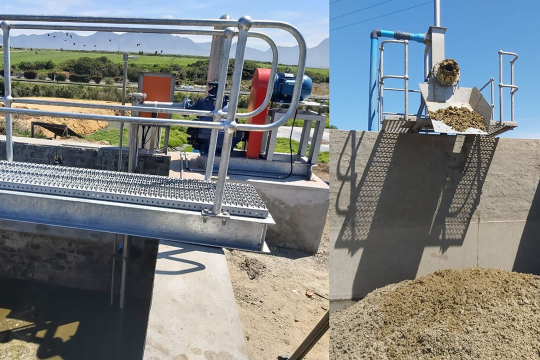 An agitator dam with a manure press. During milking, cow manure from the dairy parlour is collected and separated into liquids and solids. Photo: Lizl Kuyler